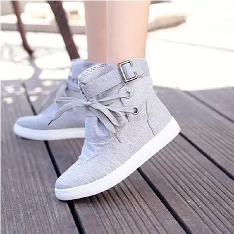 Canvas Flat Lace Up Buckle Knight Boots is part of Shoes -