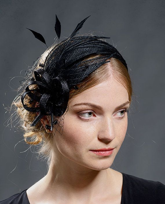 Black elegant vintage style fascinator for your special occasions-New  colour for th popular fascinator style 19204dba731