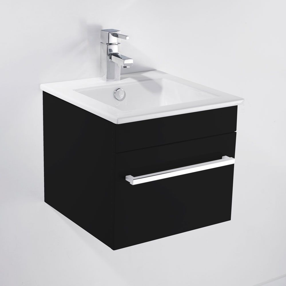 saniva wall hung black gloss basin vanity unit 400mm - Bathroom Cabinets Black Gloss