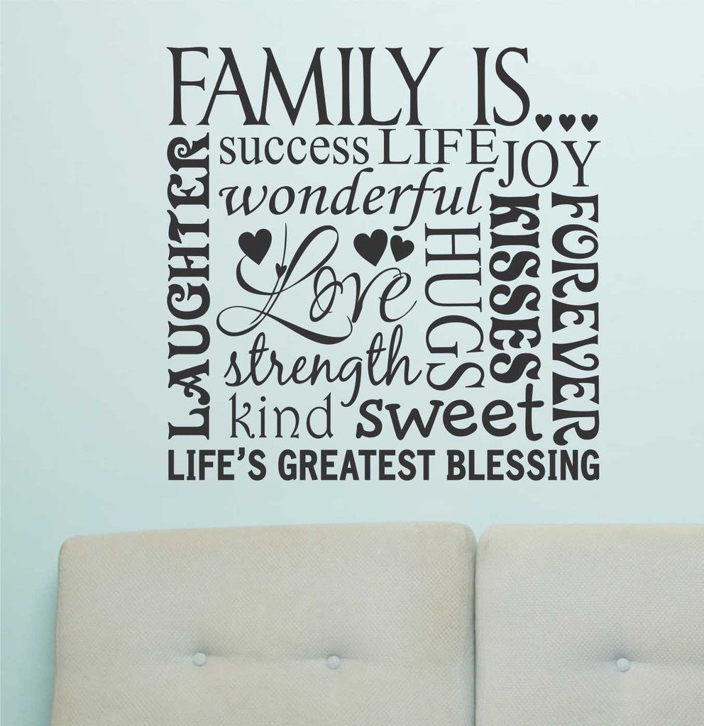 Family Is Word Collage   Vinyl Wall Lettering   Wall Quotes   Subway ...