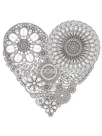 Página para colorear de flores creativo — Vector de stock | mandalas ...