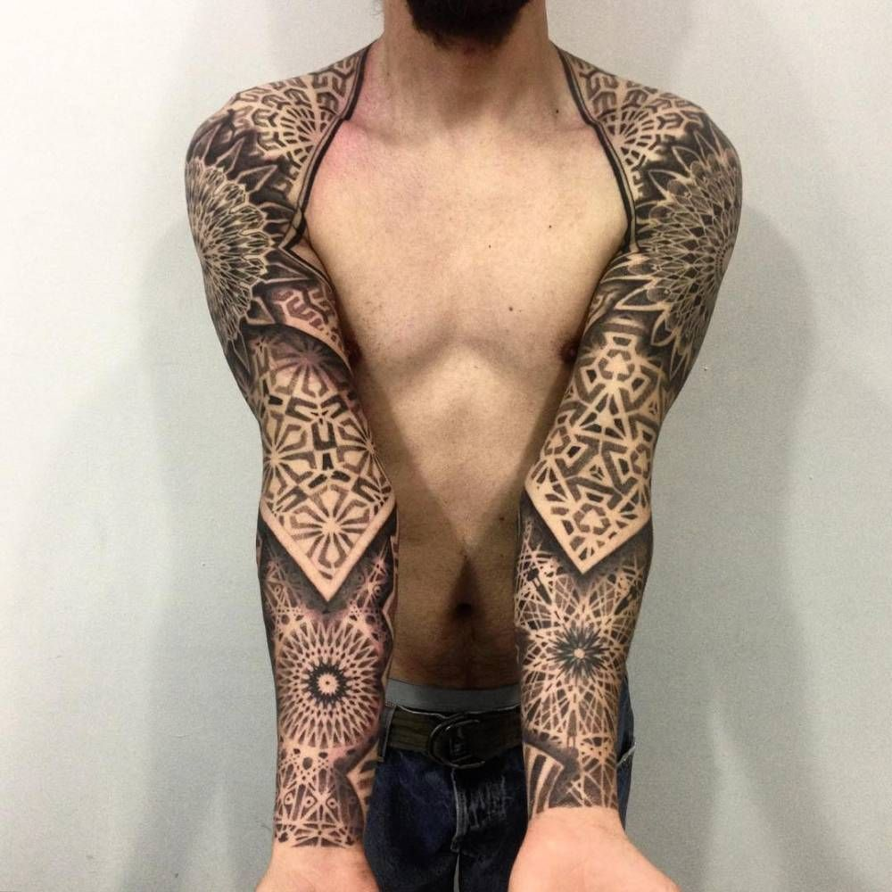 blackwork/geometric style sleeves. tattoo artist: melow perez
