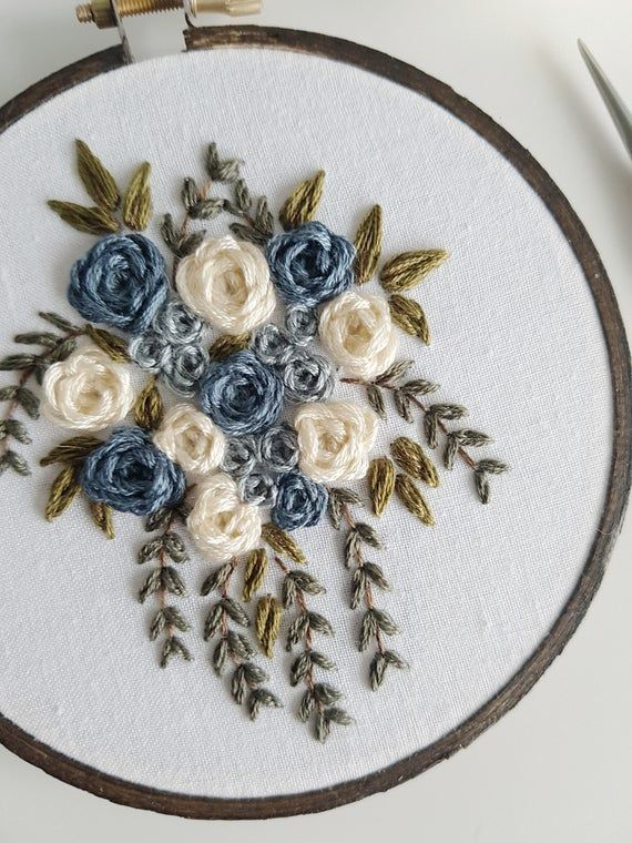 Embroidery FULL kit Winter Florals blue intermediate
