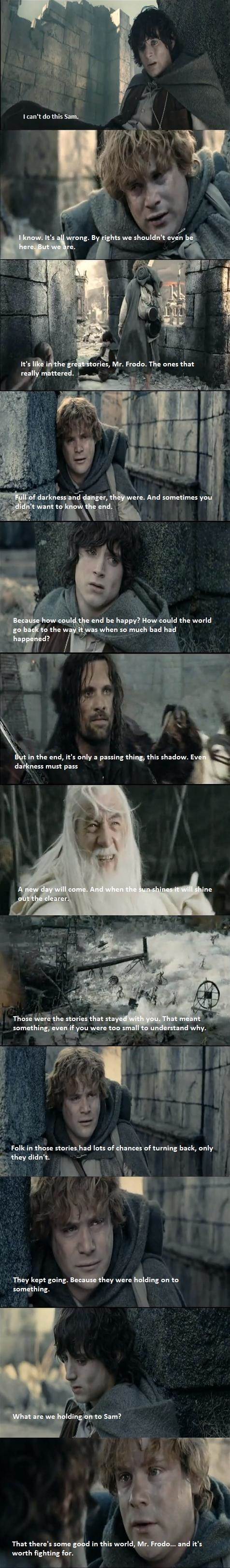 LOTR 30 Day Challenge Day 8: Most Inspiring Moment: When Frodo And Sam Have
