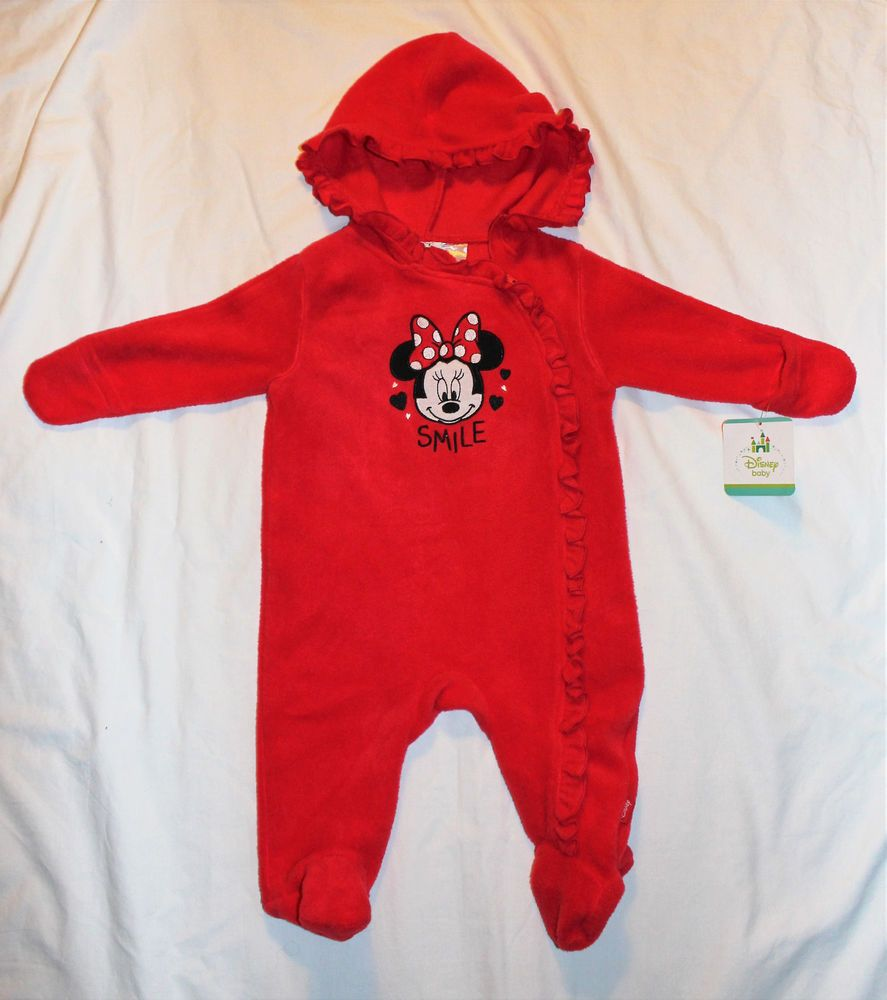 4f48cc6e24c5 Disney Baby Girls 3-6 Months MINNIE MOUSE SMILE Fleece Zip-up 1PC ...