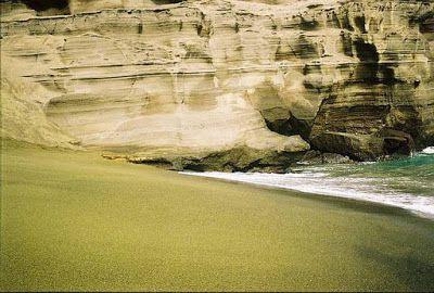 Green Noticias : (FOTOS) Praia de areias verdes conheces?