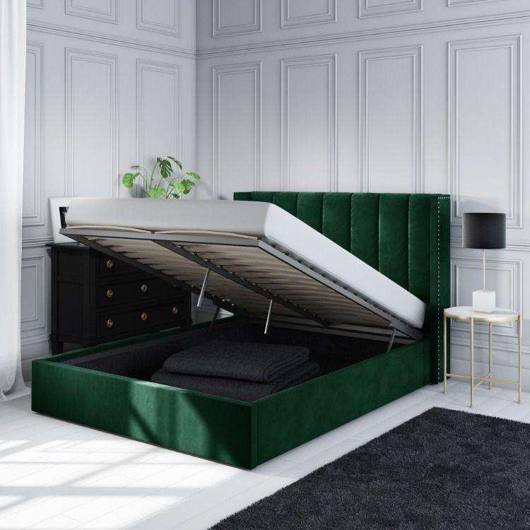 Contemporary Ottoman Storage Bed In Dark Green Velvet Ottoman Bed Ottoman Storage Bed Bed Furniture Design