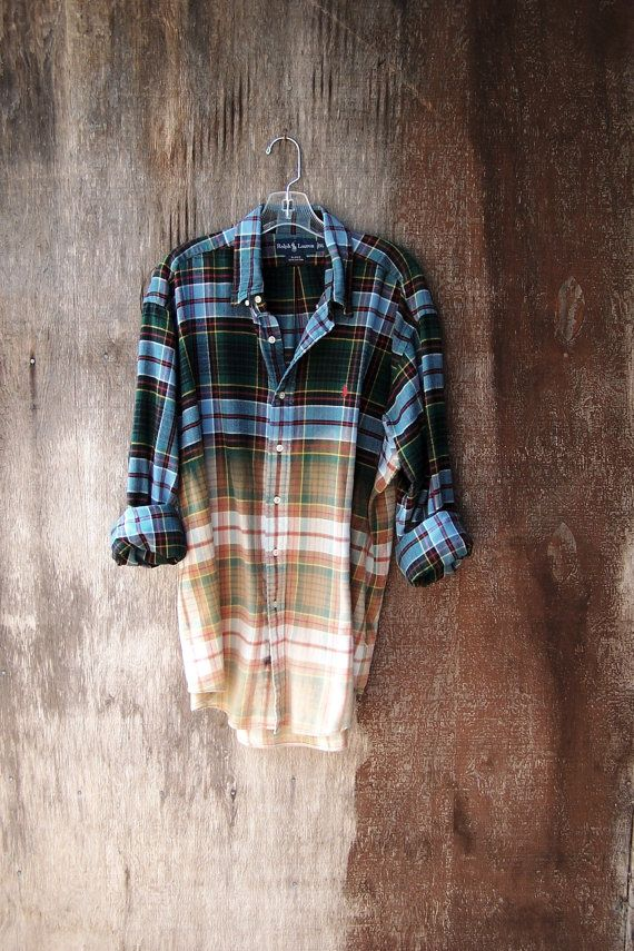 Grunge flannel oversized half bleached plaid button up ...