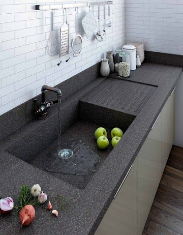 One Piece Kitchen Countertop And Sink Designs With Images Sink