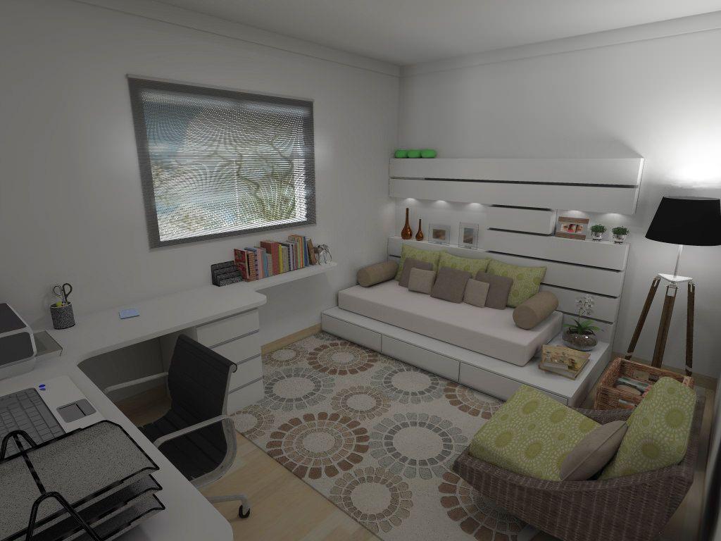 home office com sofa cama Pesquisa Google Ideias para  ~ Quarto Solteiro Visita
