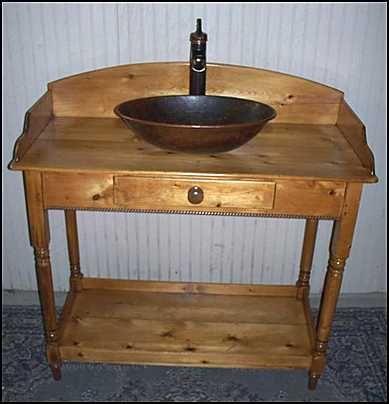 Photo of Front View   Antique Bathroom Vanity  Primitive Pine Cabinet with  Copper Vessel Sink. Photo of Front View   Antique Bathroom Vanity  Primitive Pine