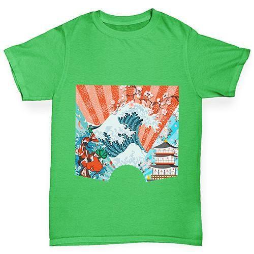 0b0cddece5fed Japanese Fan Koi Wave Temple Boy s T-Shirt - Twisted Envy