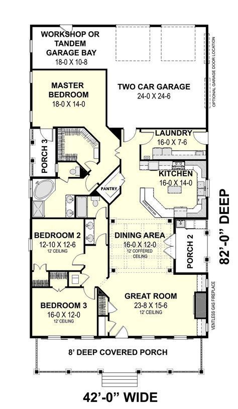 Traditional Style House Plan - 3 Beds 2.00 Baths 2208 Sq/Ft Plan #44-193 Floor Plan - Main Floor Plan - Houseplans.com