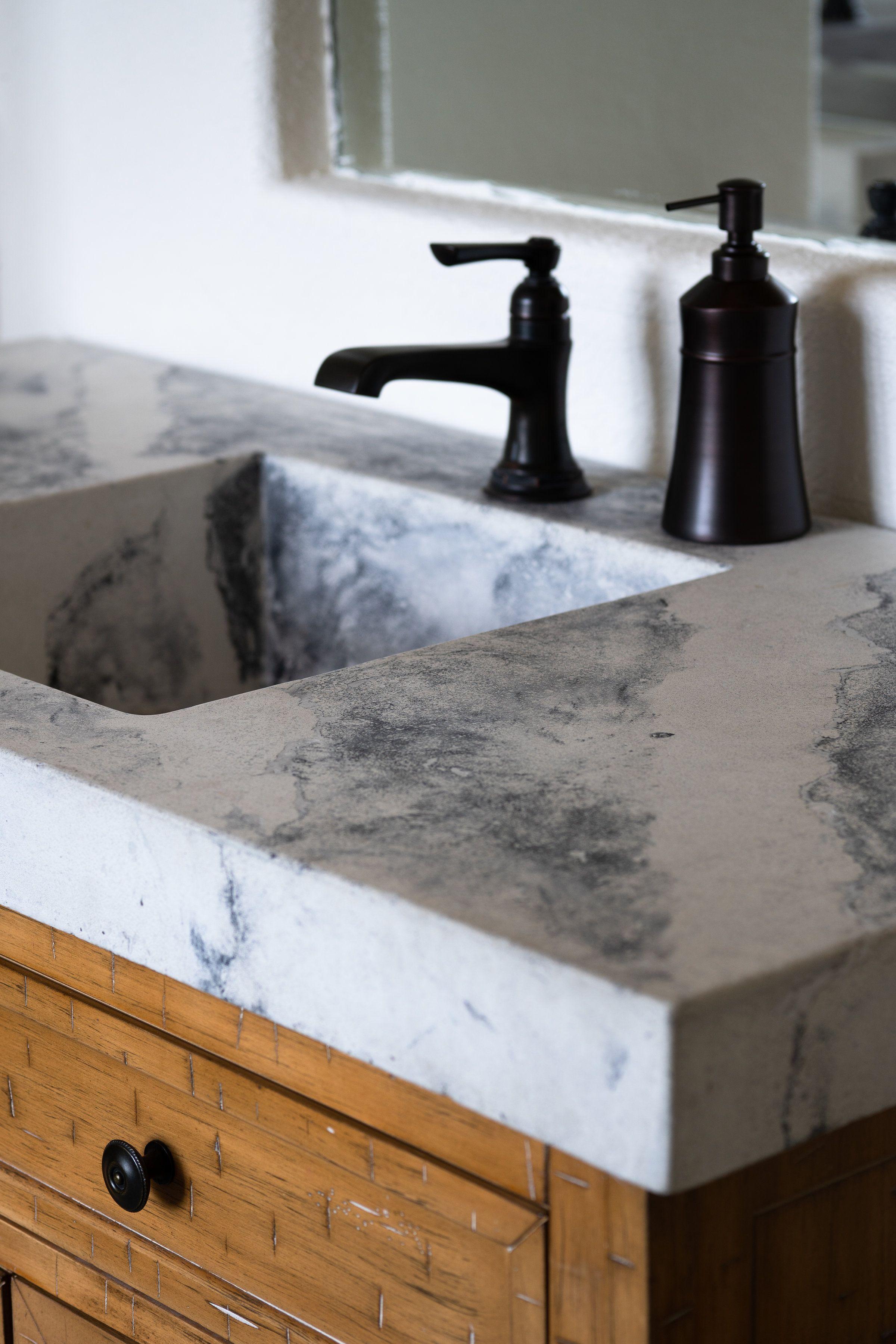 "Custom Concrete ""marbled"" bathroom vanity with integral ..."