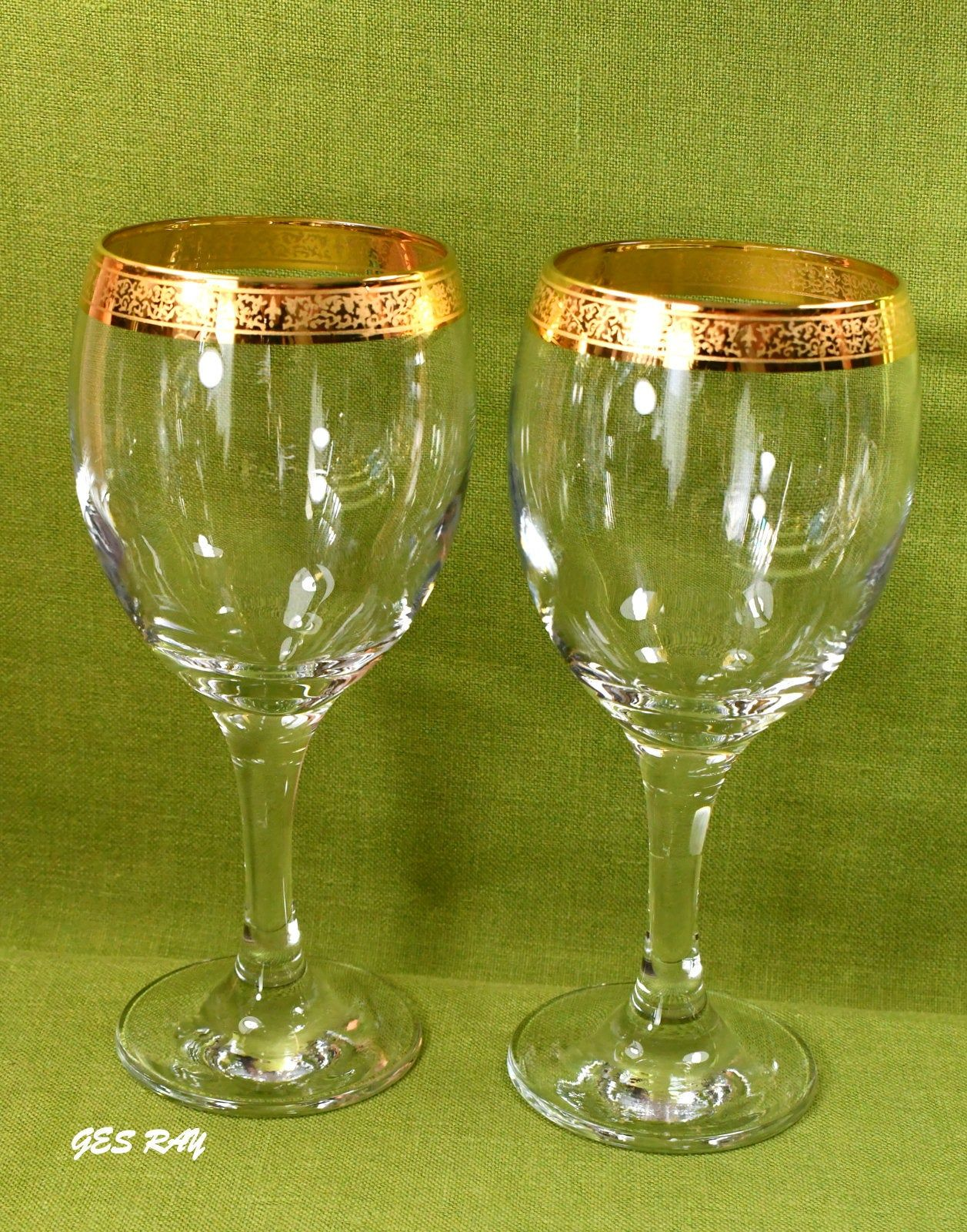Crystal Wine Gles 24k Gold Trim