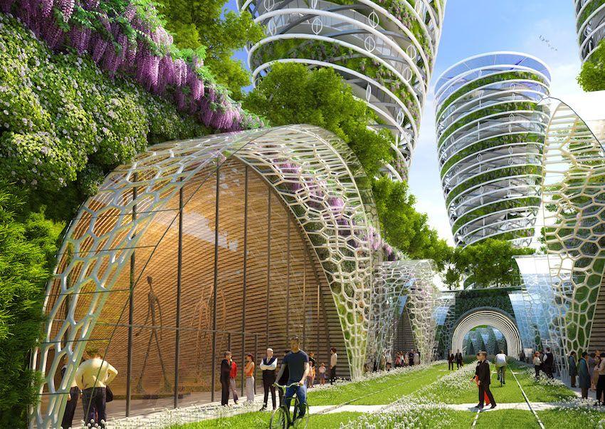 l architecte vincent callebaut a imagin une vue de la capitale d ici 2050 la demande de l. Black Bedroom Furniture Sets. Home Design Ideas