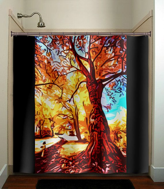 Autumn Colors Fall Tree Shower Curtain Bathroom By TablishedWorks - Autumn colours for the curtains