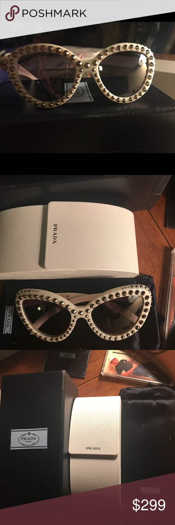 Authentic Prada Beige Studded Glasses NEW w/box These are hot! Great shape cat-eye like Authentic Prada sunglasses. Embellished with silver color studs. Comes with booklet, hard case, soft case and box! New - l forgot l owned them. Prada Accessories Sunglasses