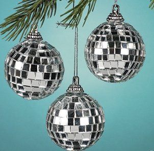 "$9.99-$14.99 12 pack box - Glass Silver Mirror Ball Ornaments. 2 1/4"", foam base with mirror tiles, shimmer and shine on your tree!! hanging string attached, no hook needed."