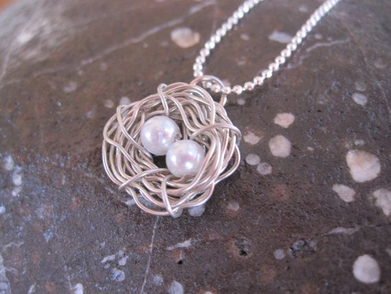 Two Eggs Silver Bird Nest Necklace Gift by mediterraneangirl, $22.00