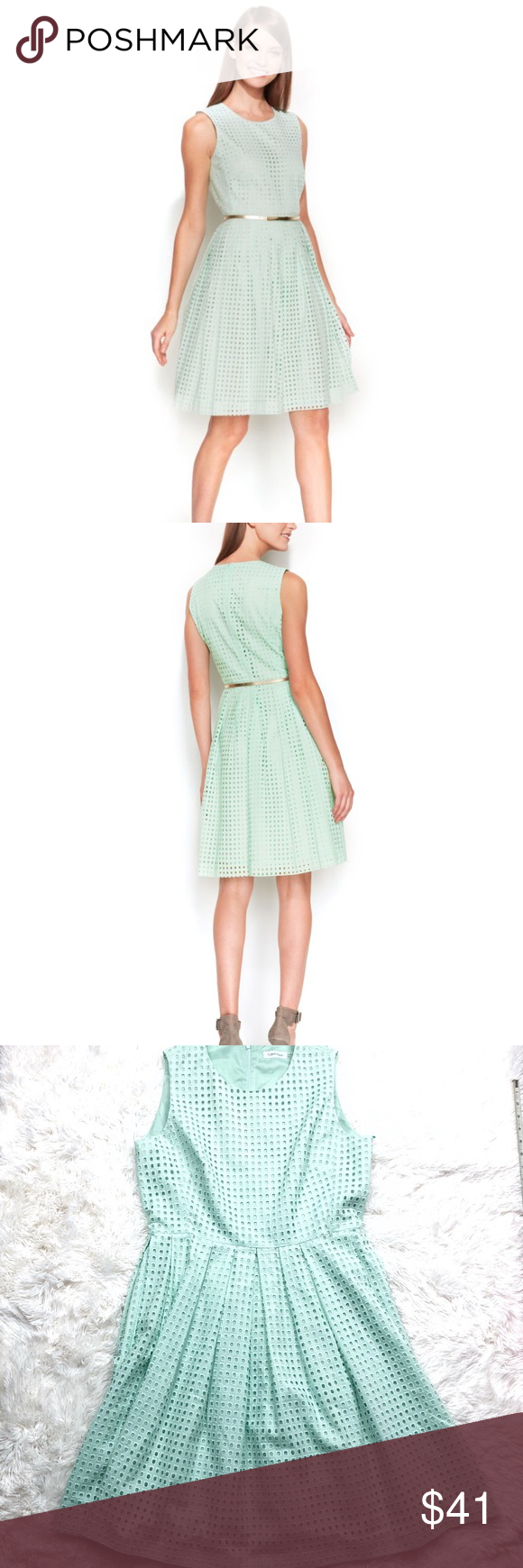 e51f72e5a4c5 Calvin Klein mint green eyelet flare dress Calvin Klein mint green eyelet sleeveless  flare dress Size  12 Excellent used condition I accept lowball offers!