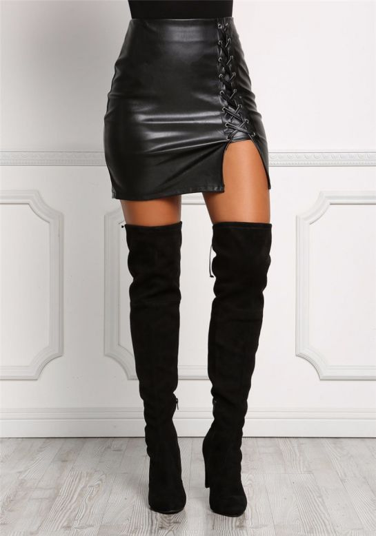 4f9222d99 Sexy Black Faux Leather Lace-Up High Slit Mini Skirt | Hot outfits ...