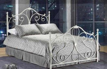 Ansley White Twin Wrought Iron Bed Frame Traditional Kids Beds