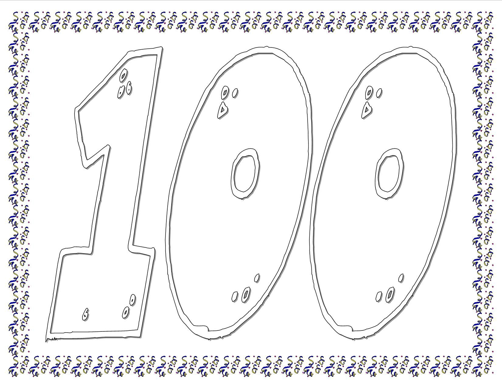 100th Day Of School Coloring Sheet