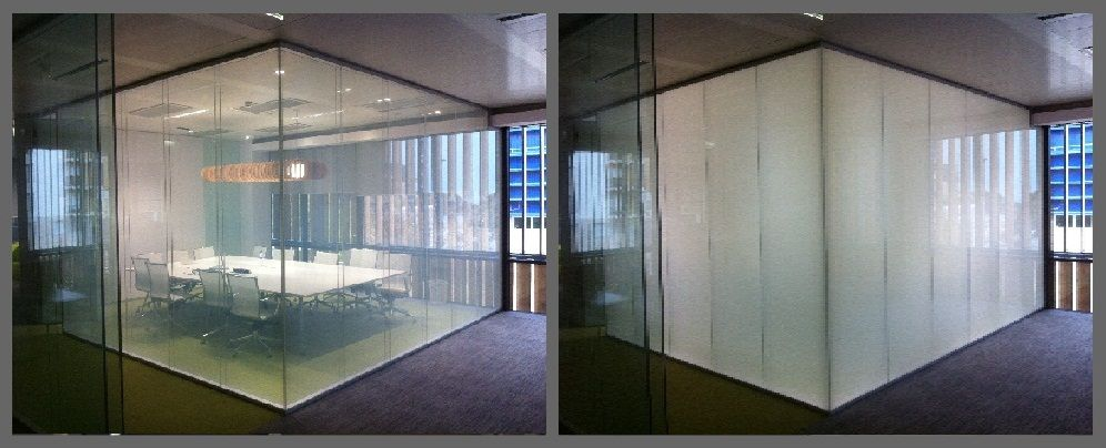 Switchable glass which changes from clear to opaque for Window opens off screen
