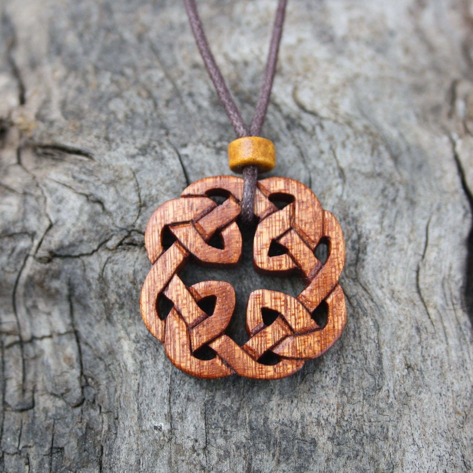 Hand Carved Recycled Mahogany Guitar Necklace