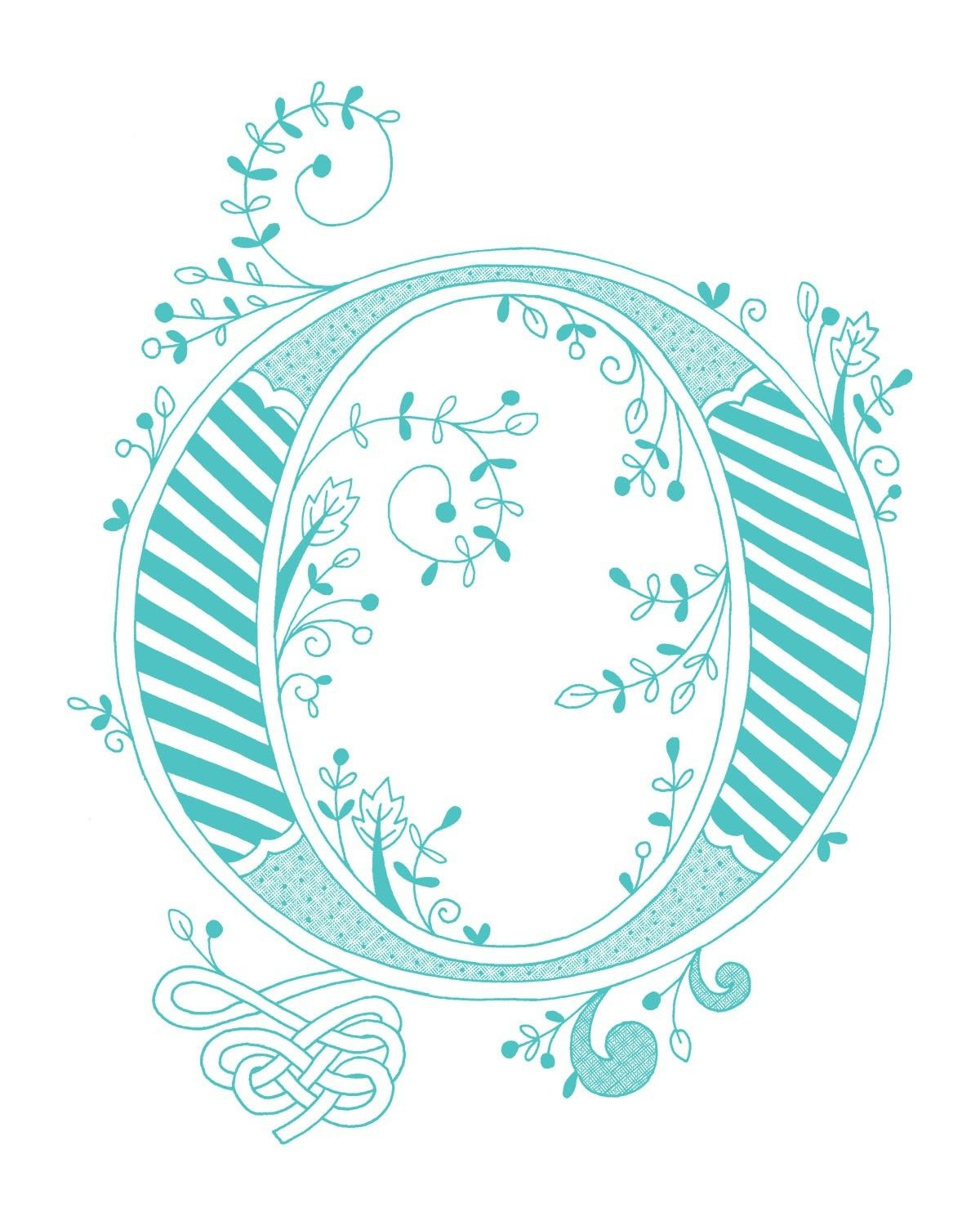 Hand Drawn Monogrammed Print 8x10 The Letter O In By Jenskelley 1500