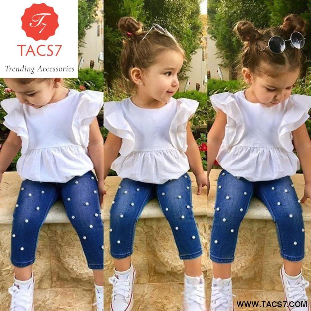 2PC Little Girls Long Sleeved Winter T-Shirt Tops Sweatwear Lace Skirt Dress Outfits Set