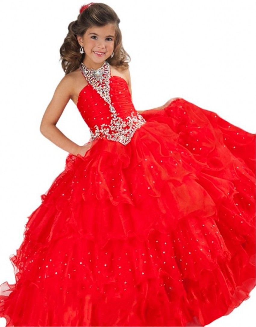 Click to buy ucuc new ball gown organza scalloped flower girls dresses