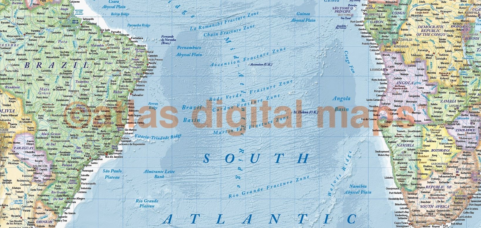 Political and ocean relief map of south america west africa and the canvas world wall map wide x deep a unique and classic fine quality political world map with light colours ocean floor contour relief gumiabroncs Images