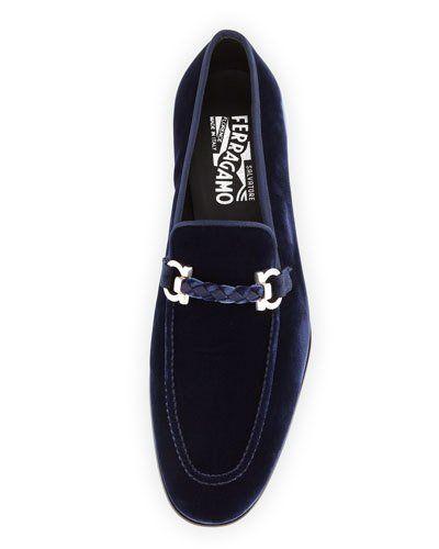 1d626f94e66 N3V21 Salvatore Ferragamo Lord 2 Velvet Slip-On Loafer