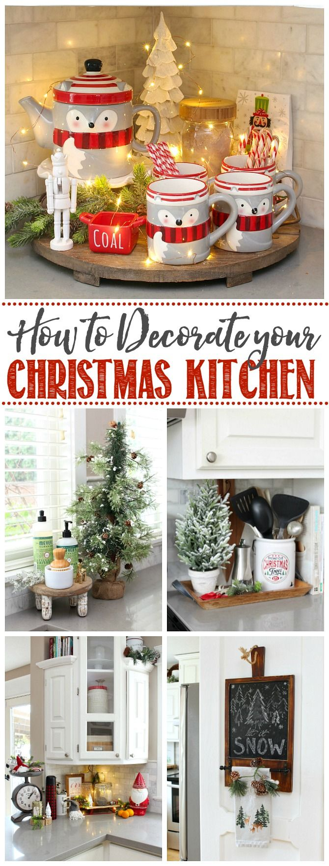 How to decorate the kitchen for Christmas. Lots of simple tips to add that seasonal touch to your Christmas kitchen. #christmaskitchen #kitchendecor #christmasdecor #christmasdecorating #whitekitchen #farmhousestyle