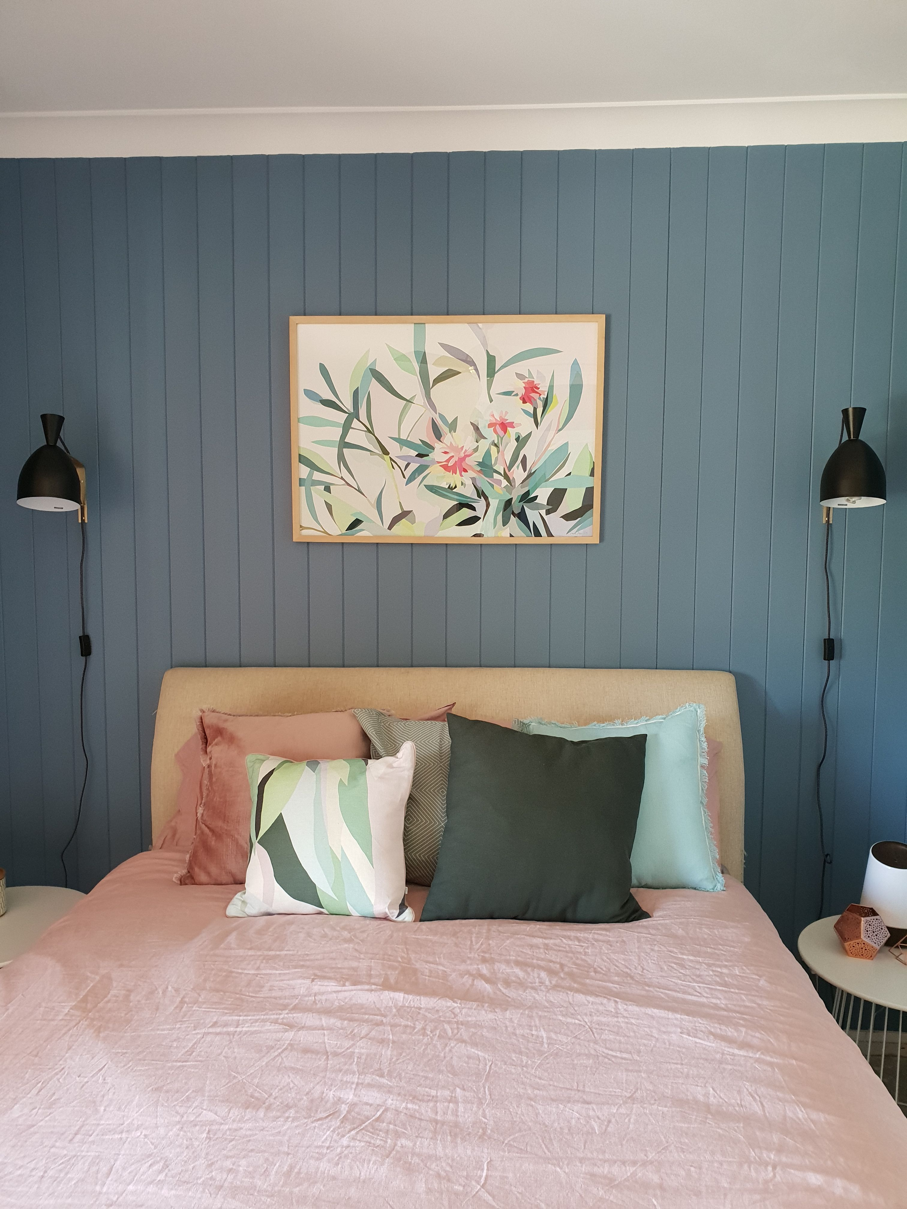 Modern Contemporary Bedroom inspired by modern Australian colours and botanical s VJ Board pained with Haymes Tempest Storm The bedding is Blush Pink and