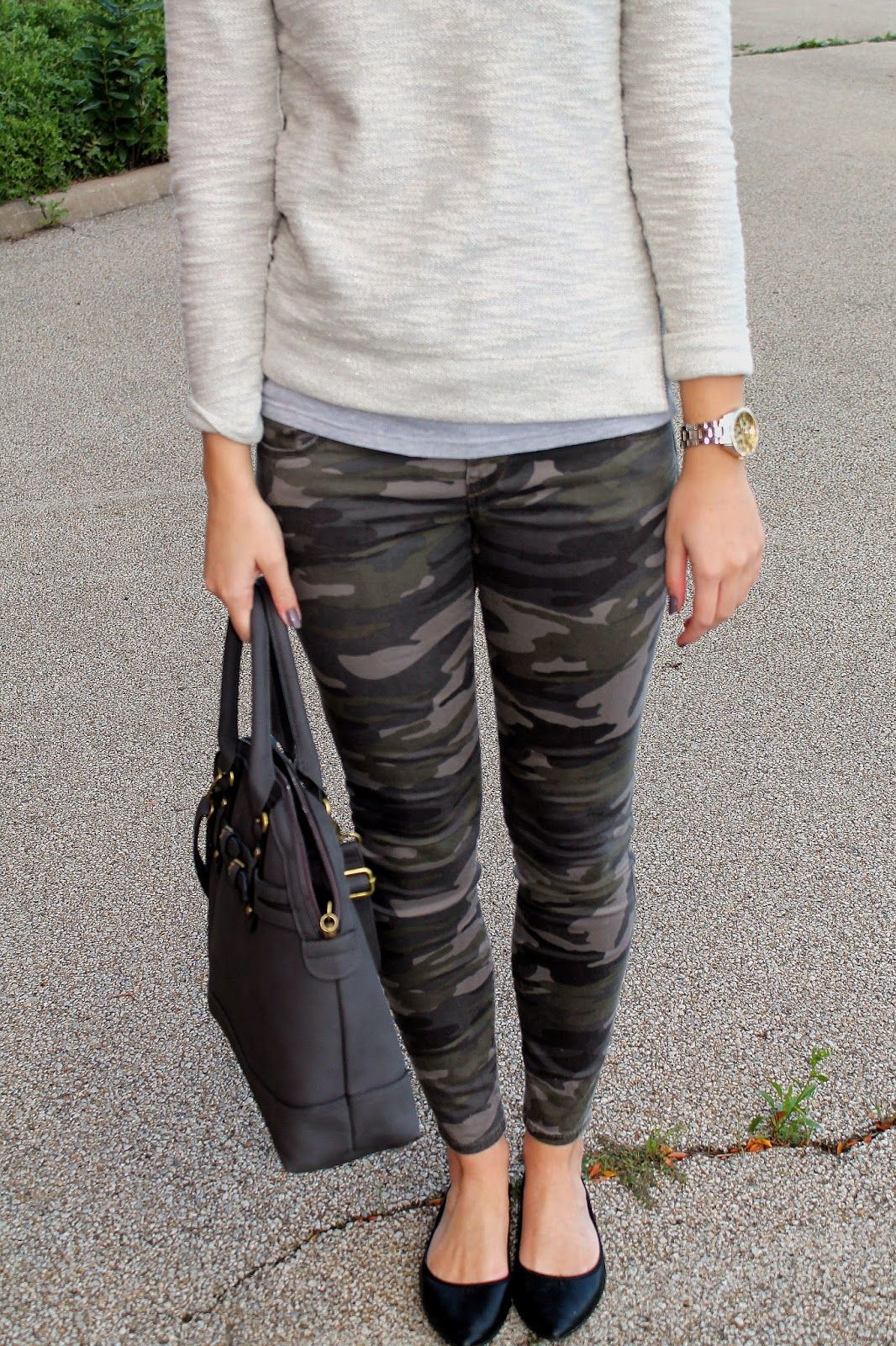 i like the combo of CAMO JEANS + SWEATSHIRT and flats. More soft and hard play. Don't like the accessories