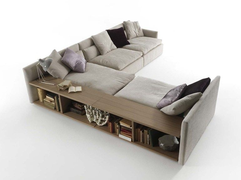 Poltrone E Sofa Chaise Longue.Sectional Fabric Sofa With Integrated Magazine Rack Domino Fabric