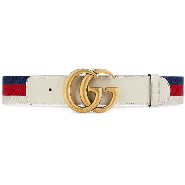 Gucci Sylvie Web belt with double G buckle ( 395) ❤ liked on Polyvore  featuring b5649c19268