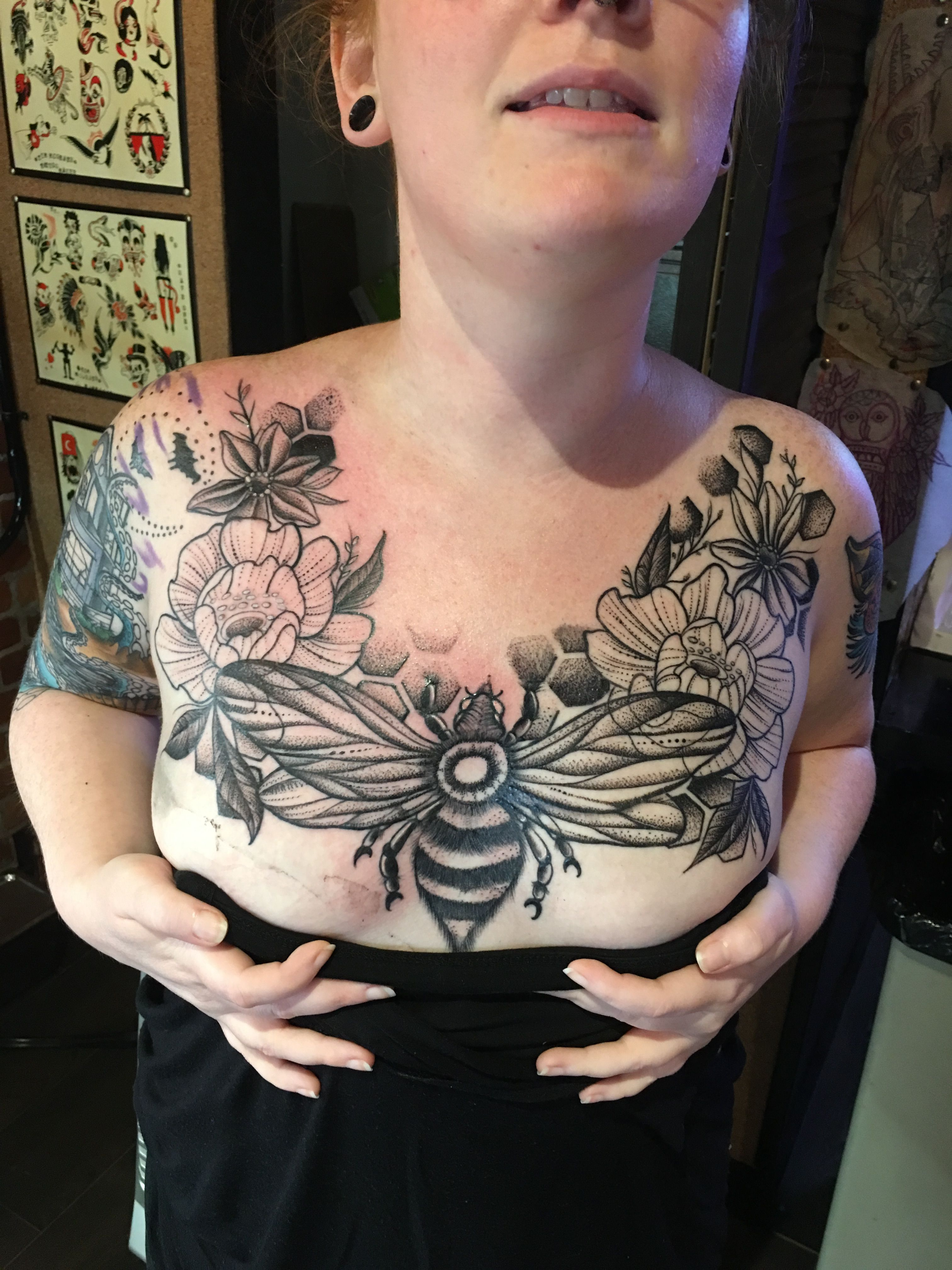 Bee botanical chest tattoo dot work tattoo botanical