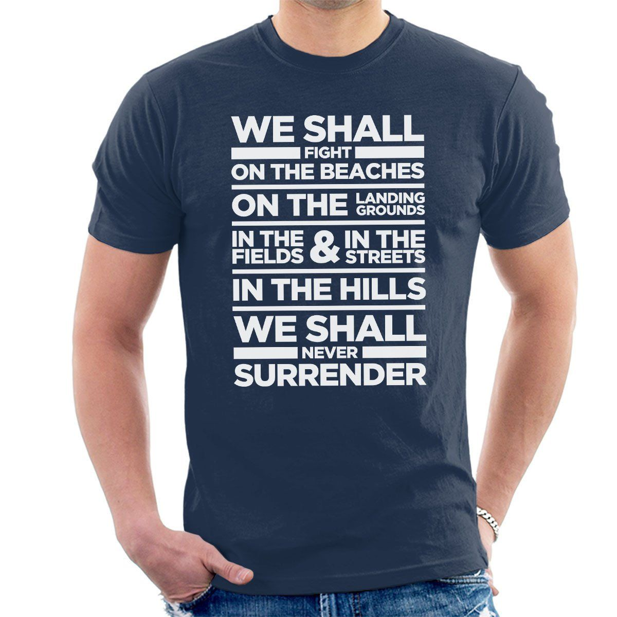 af62df0d Winston Churchill Dunkirk Quote On The Beaches Men's T-Shirt | Fan ...