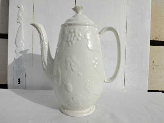 English Davenport Burleigh Staffordshire White Coffee Pot