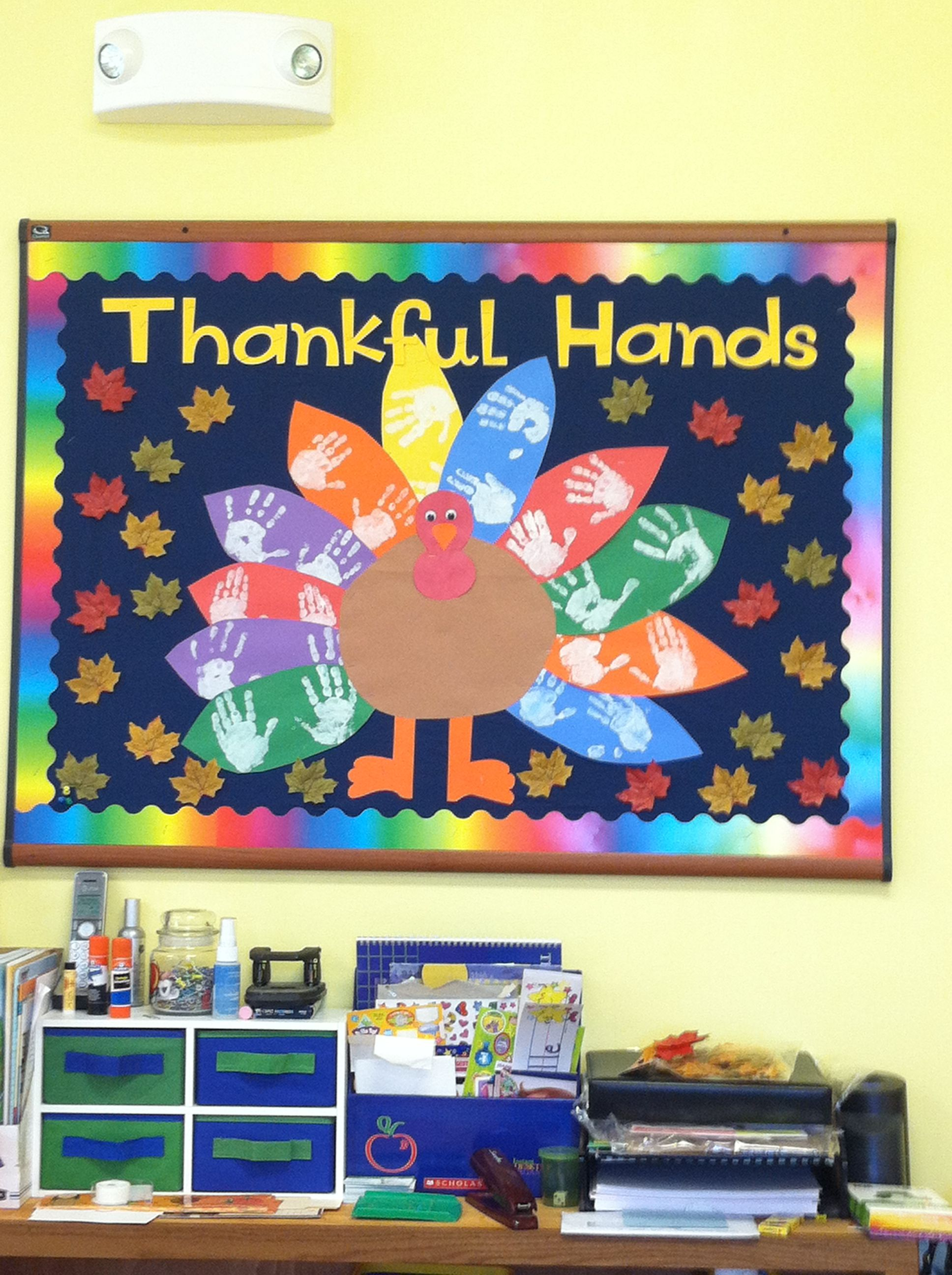 nice Thanksgiving School Bulletin Board Ideas Part - 5: Thanksgiving Bulletin Board - CMs thankful notes on tail feathers and  birthday and anniversary names on leaves