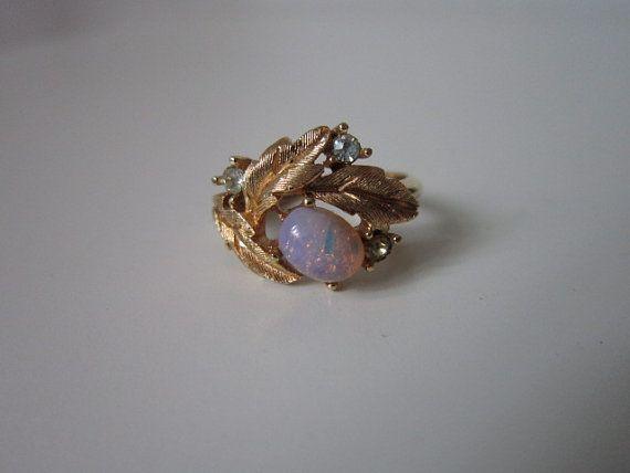 1970 S Leafy Flower Opal Ring By Avon By Cocoandorange