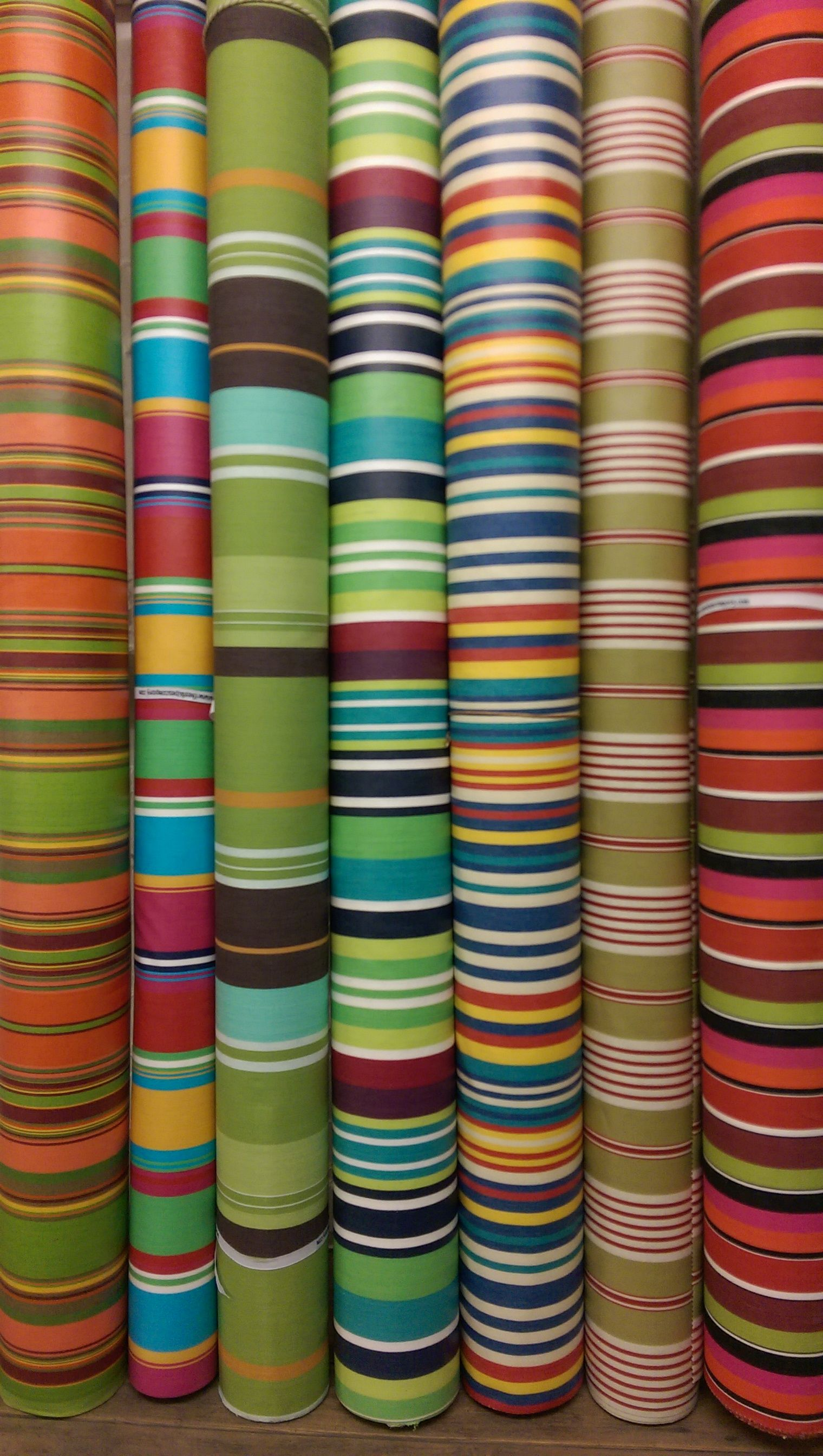 Striped Oilcloth Fabrics - Wipeable, Water Resistant Fabrics in bold beautiful Stripes