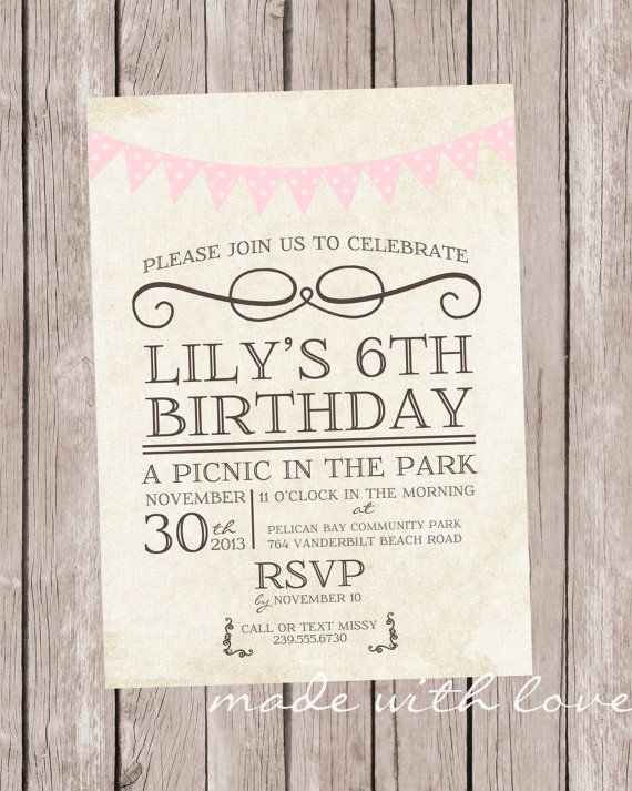 Vintage Picnic Party invitation, personalized and printable, 5x7 - picnic invitation template