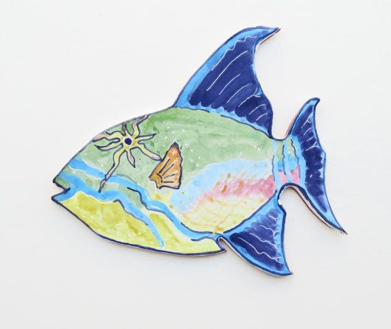 Ceramic Fish Majolica Trigger Fish Wall Art ~ Terracotta ~ Tropical ...