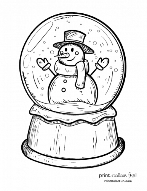 Winter Snow Globe With Snowman Coloring Page Print Color Fun Travelpacking Travel Pa Snowman Coloring Pages Christmas Coloring Sheets Christmas Drawing