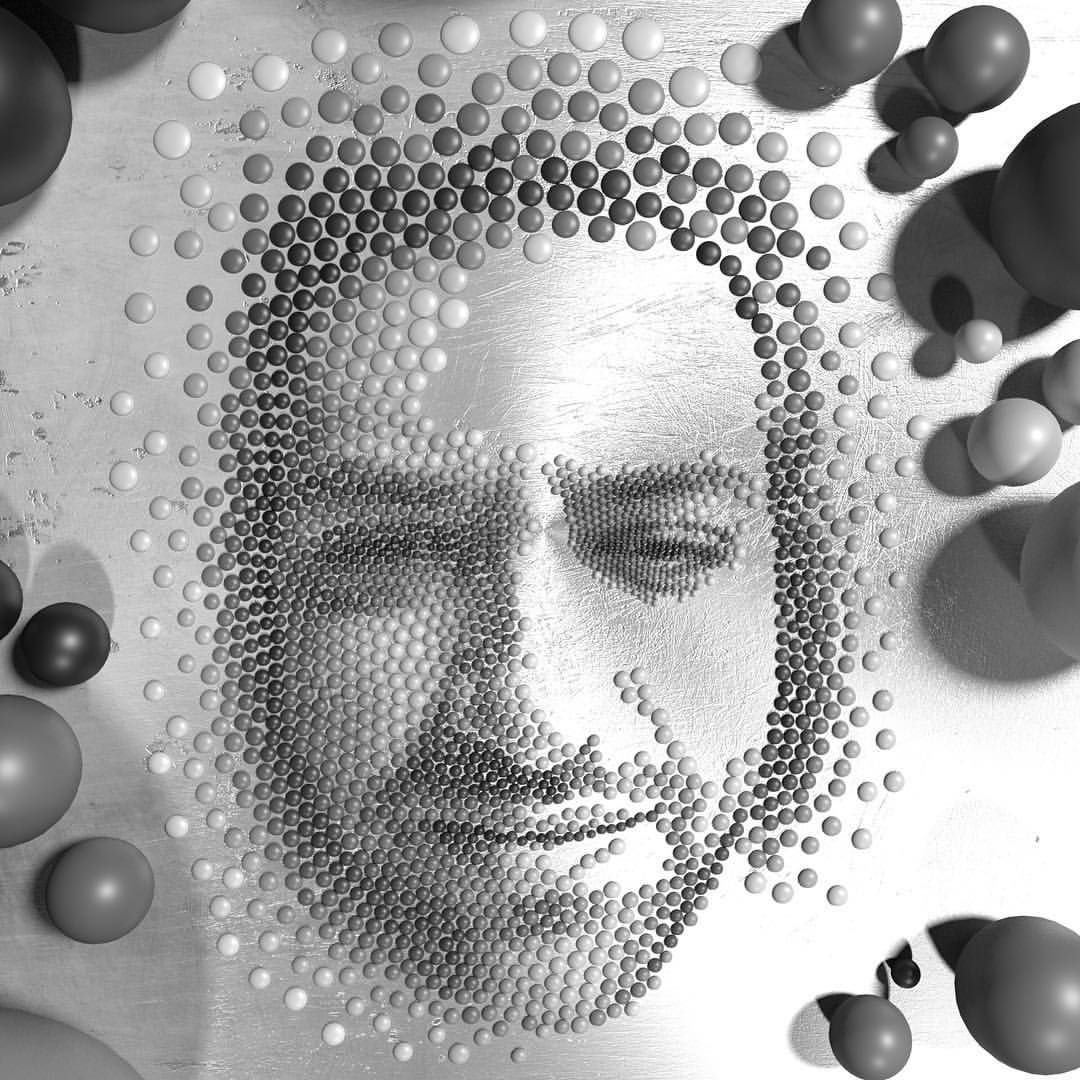 Stylized Mosaic Self Portrait Made Out Of Glossy Beads And Uv